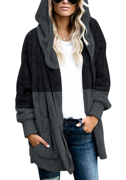 Model poses wearing dark grey color block hooded fleece cardigan