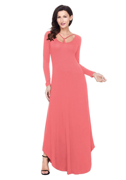 Model poses wearing dusty coral T-front long sleeves maxi dress