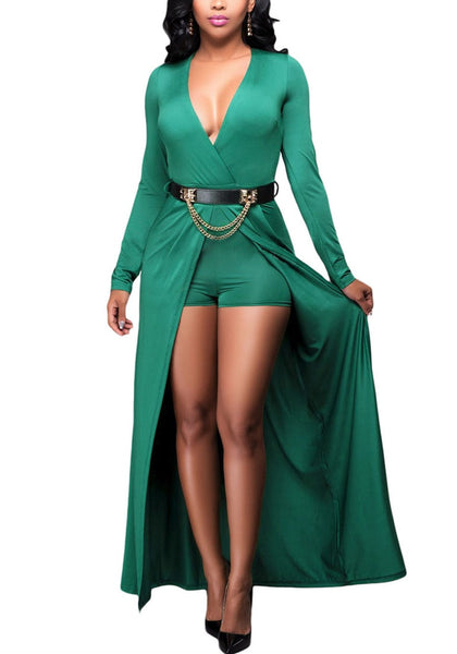 Model poses wearing green wrap plunge-neck belted romper dress