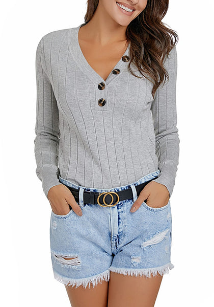 Model poses wearing grey V-neckline buttons ribbed knit pullover top