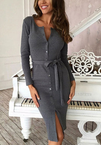 Grey Belted Button-Front Bodycon Dress