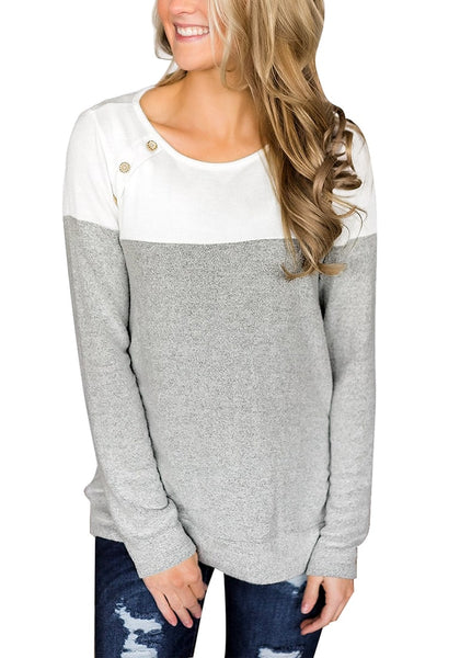 Model poses wearing grey long sleeves buttons colorblock pullover sweatshirt