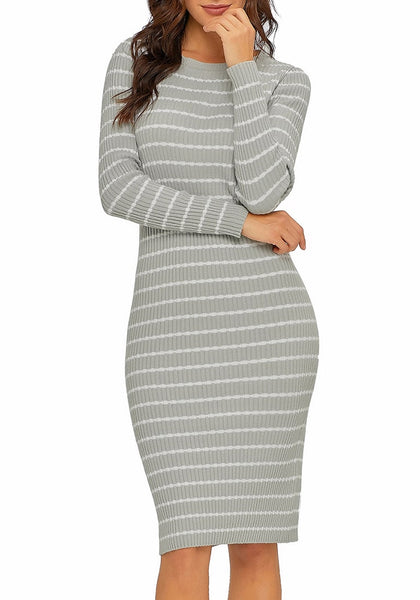 Model poses wearing grey ribbed knit striped bodycon dress