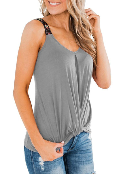 Model poses wearing grey twist knot embroidered straps tank top