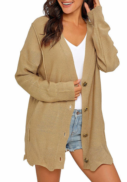 Model poses wearing khaki button-up side-pocket knit boyfriend cardigan