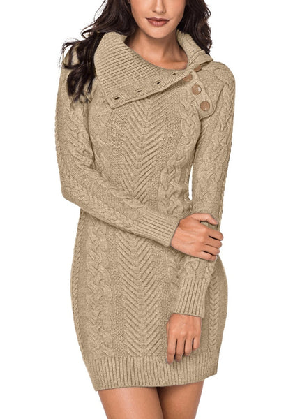 Model poses wearing khaki cable knit split cowl neck sweater dress