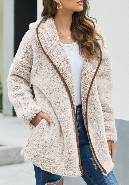 Model poses wearing khaki fuzzy fleece hooded open-front oversized coat