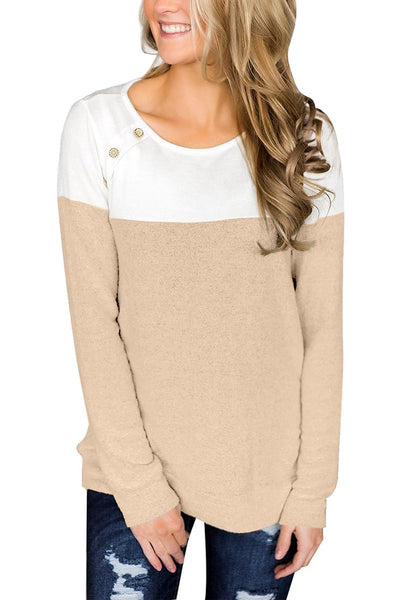 Model poses wearing khaki long sleeves buttons colorblock pullover sweatshirt
