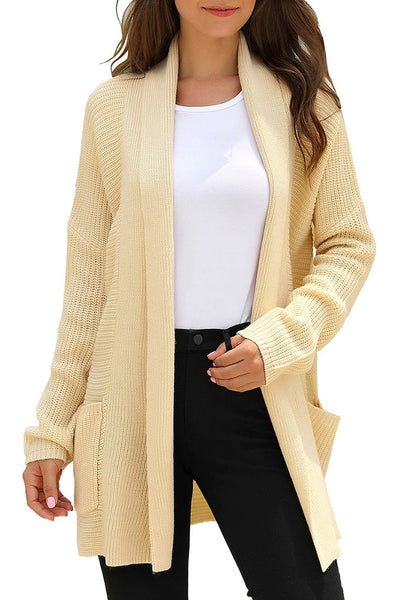 Model poses wearing khaki open-front draped ribbed knit long cardigan