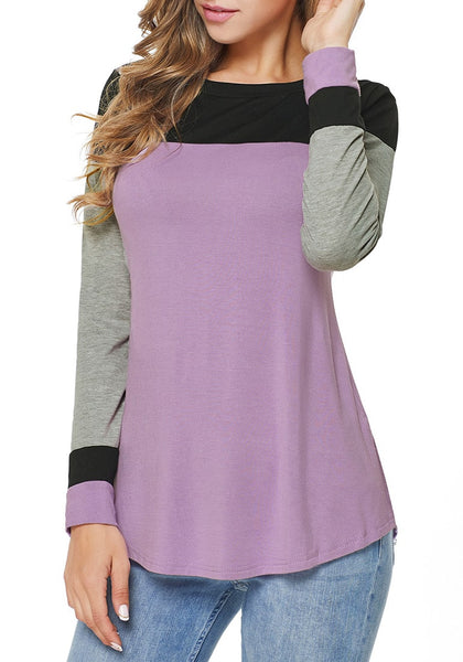 Model poses wearing light purple long sleeves splicing colorblock top