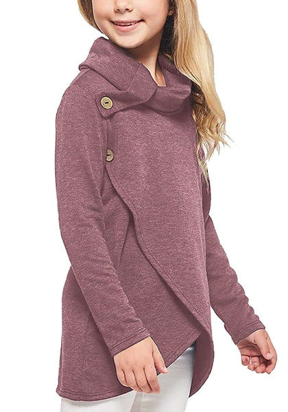 Model poses wearing mauve oblique buttons tulip hem turtleneck girl's sweatshirt