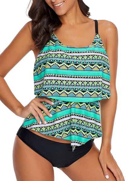 Model poses wearing mint green tribal print strappy-back layered tankini top