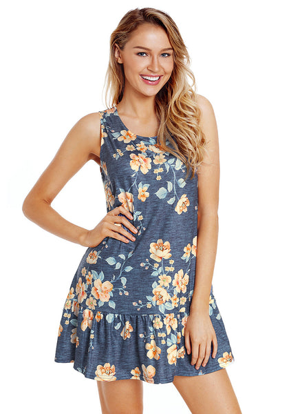 Model poses wearing navy-cross-back-sleeveless-ruffled-mini-floral-shift-dress
