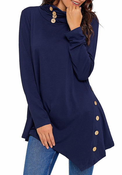 Model poses wearing navy cowl neck buttons asymmetrical tunic top