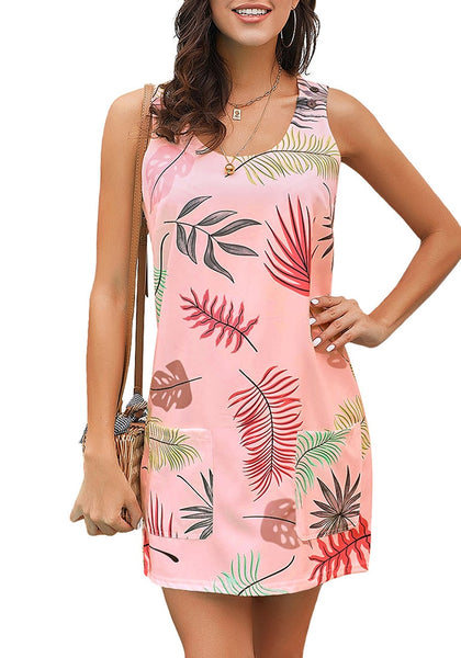 Model poses wearing pink leaf-print sleeveless short shift dress