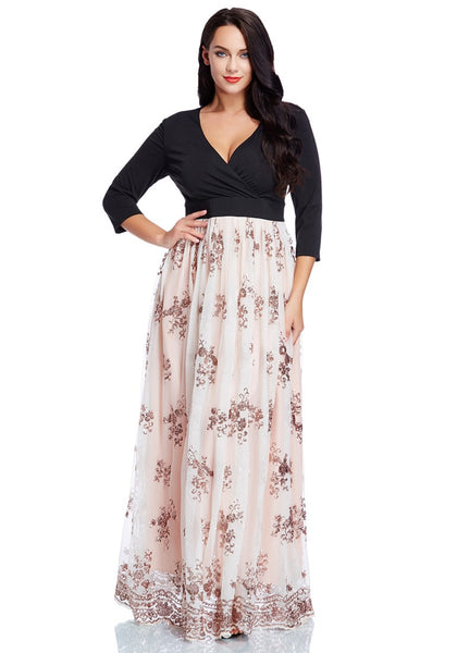 Plus Size Floral Sequin Maxi Dress