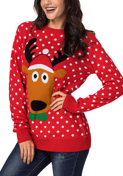 Model poses wearing red reindeer polka dots ugly Christmas sweater