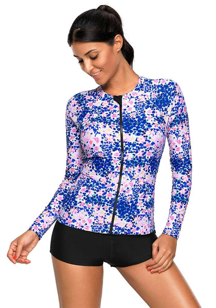 Royal Blue Floral Print Zipper-Front Swim Top