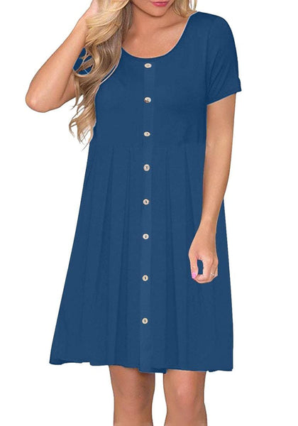 Model poses wearing royal blue button-down short sleeves flowy swing dress