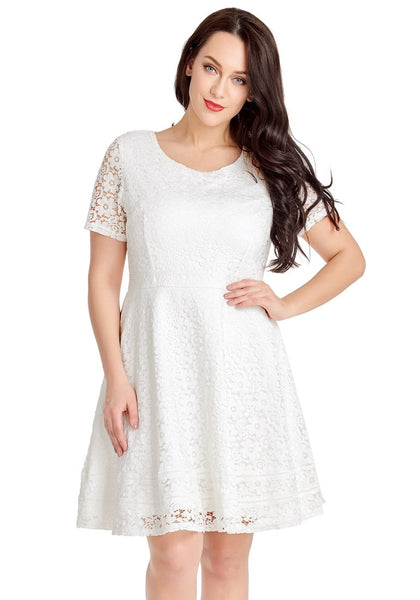 Model poses wearing white floral hollow lace short sleeves skater dress