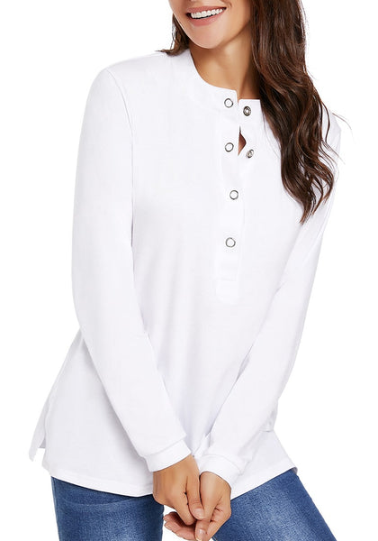 Model poses wearing white long sleeves snap buttons side slit top