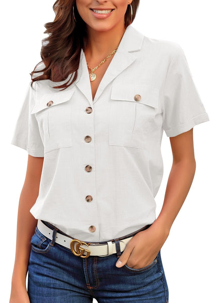 Model poses wearing white short sleeves lapel button-up blouse