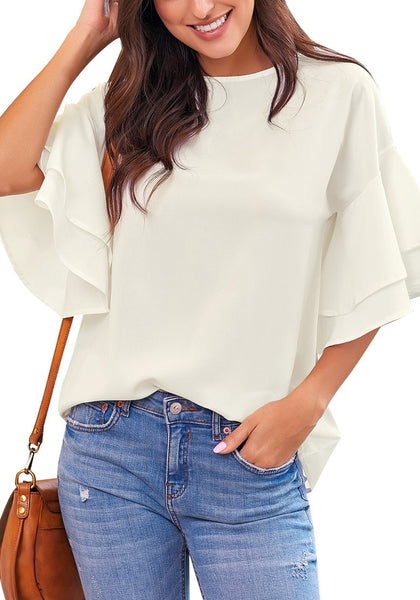 Model poses wearing white trumpet sleeves keyhole-back blouse