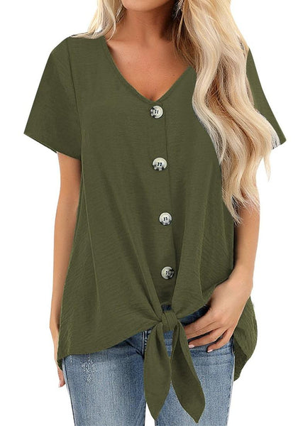 Model wearing army green V-neckline short sleeves button-up tie-front top