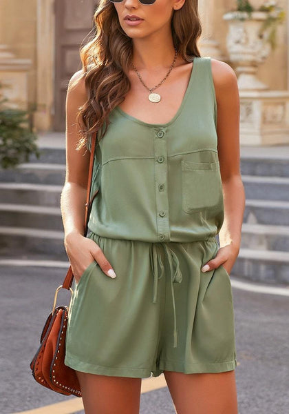 Model wearing army green button-up drawstring-waist sleeveless romper