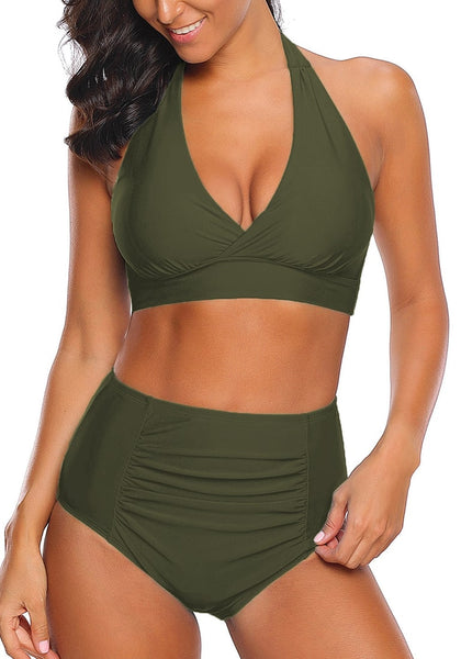 Model wearing army green halter ruched high-waist bikini set