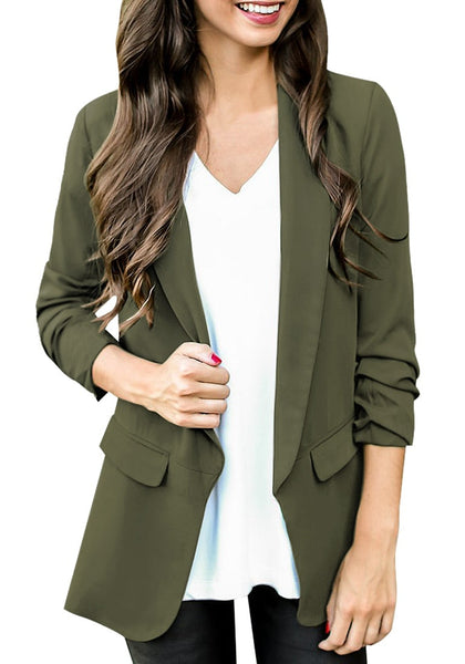 Model wearing army green lapel side pocket slim blazer