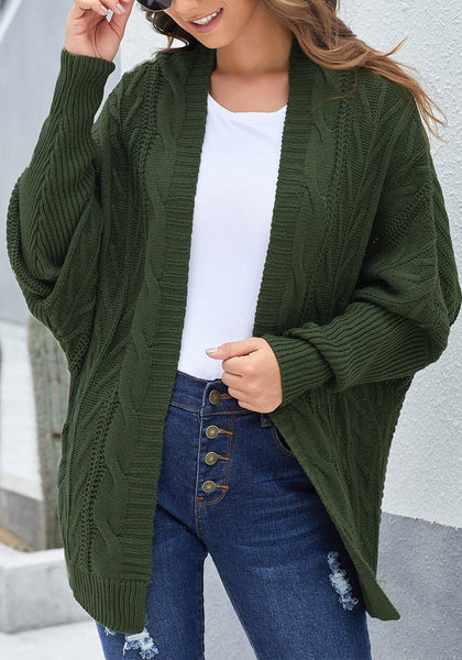 Model wearing army green open-front oversized cable knit cardigan