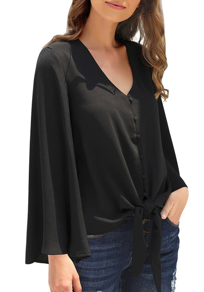 Model wearing black V-neckline button loop loose top