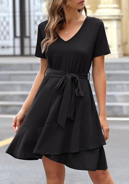 Model wearing black V-neckline short sleeves belted ruffle dress