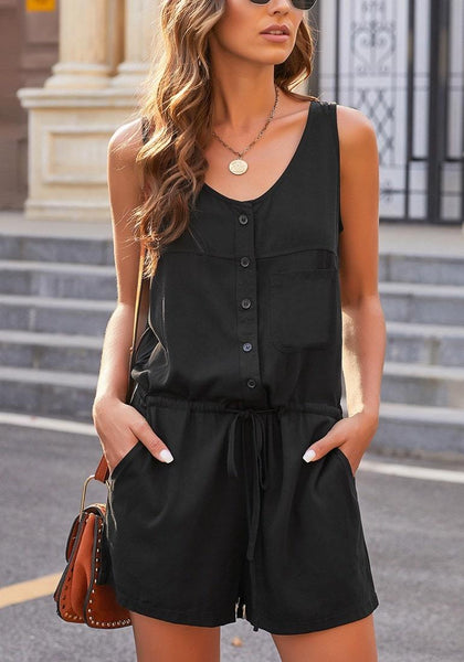 Model wearing black button-up drawstring-waist sleeveless romper