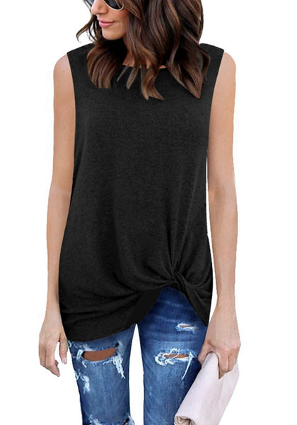 Model wearing black front twist knot sleeveless crew neck top