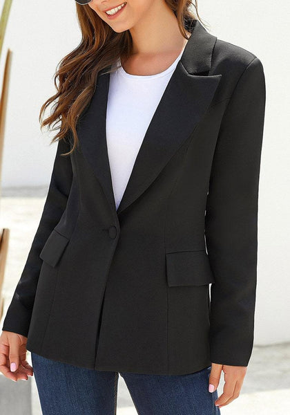 Model wearing black lapel front-button side-pockets blazer