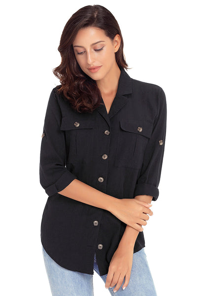 Model wearing black long cuffed sleeves lapel button-up blouse