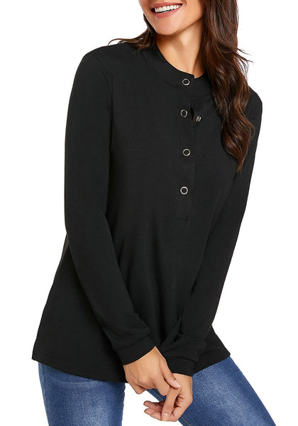 Model wearing black long sleeves snap buttons side slit top