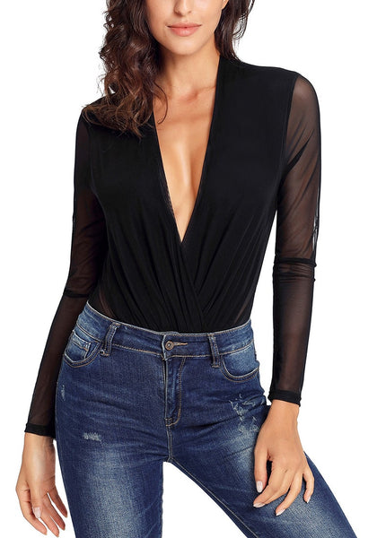 Model wearing black long sleeves surplice neckline sheer mesh bodysuit with her jeans