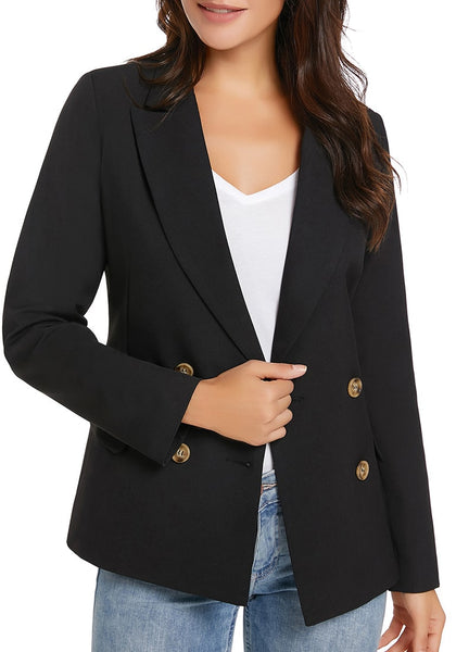 Model wearing black notch lapel double breasted blazer