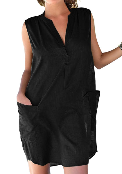 Model wearing black notched V-neck sleeveless beach cover-up