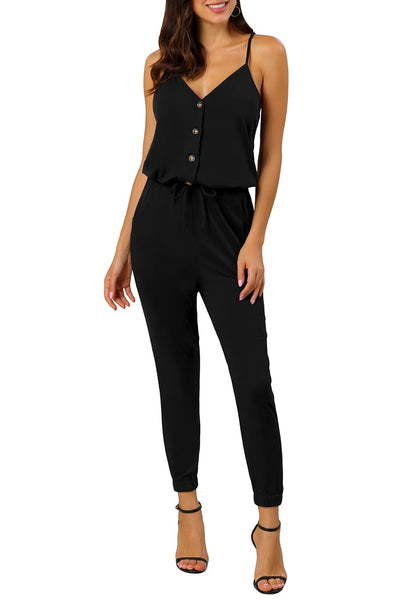 Model wearing black spaghetti straps belted button-up jumpsuit