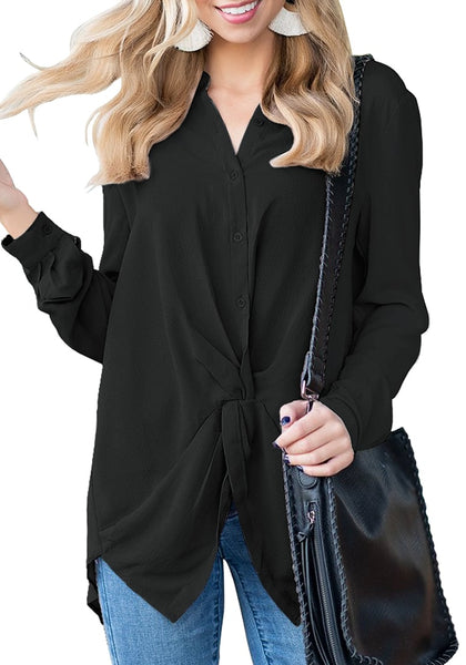 Model wearing black twist knot-front button-up chiffon blouse