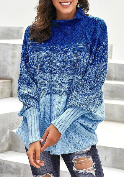 Model wearing blue batwing sleeves ombre turtleneck cable knit sweater