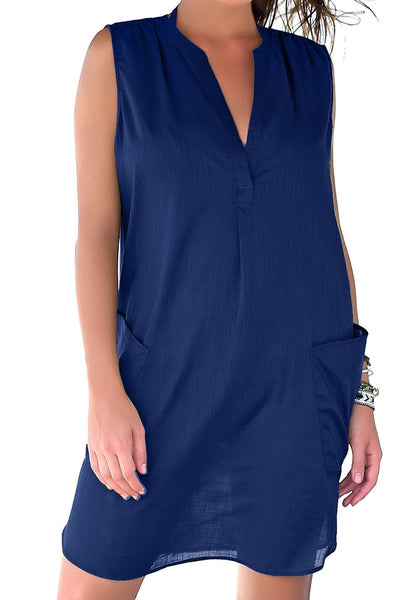 Model wearing blue notched V-neck sleeveless beach cover-up