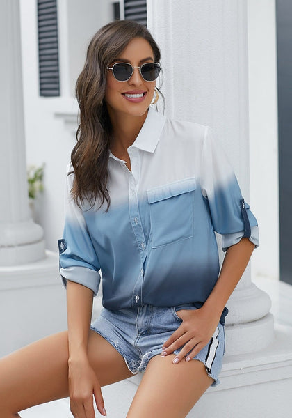 Model wearing blue ombre long sleeves collared button-up shirt