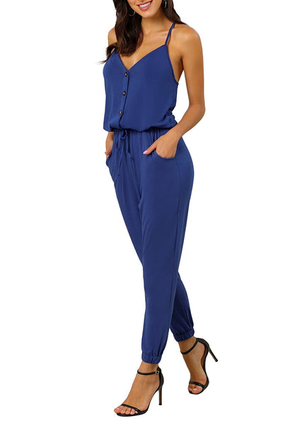 Model wearing blue spaghetti straps belted button-up jumpsuit