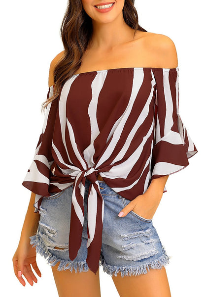 Model wearing burgundy striped flare sleeves tie-front off-shoulder top