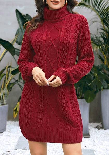 Model wearing burgundy turtleneck cable knit pullover sweater dress